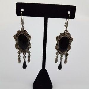Earrings art nouveau deco victorian style black